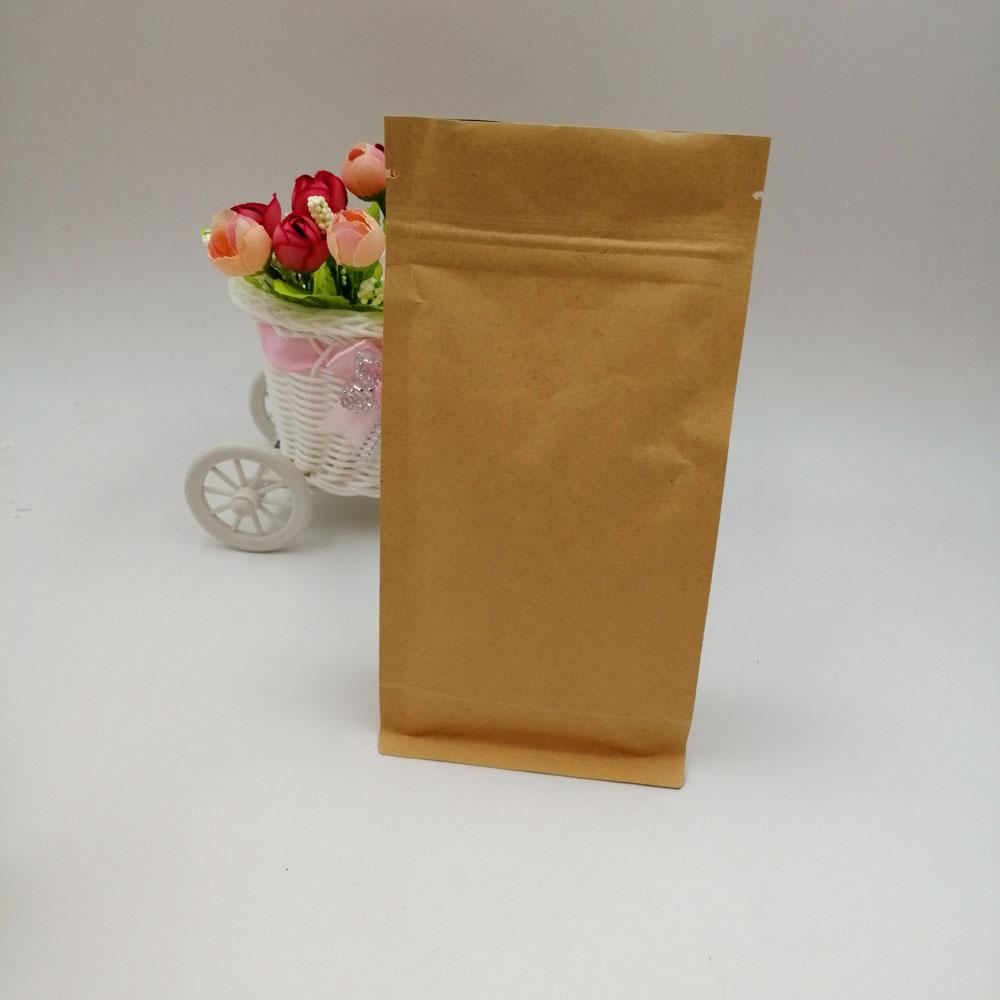 50pcs Brown Kraft Paper Bag For Gifts Christmas Food Tea Candy Zip Lock Kraft Paper Bag Without Window Stand Up Pouch Zipper Bag