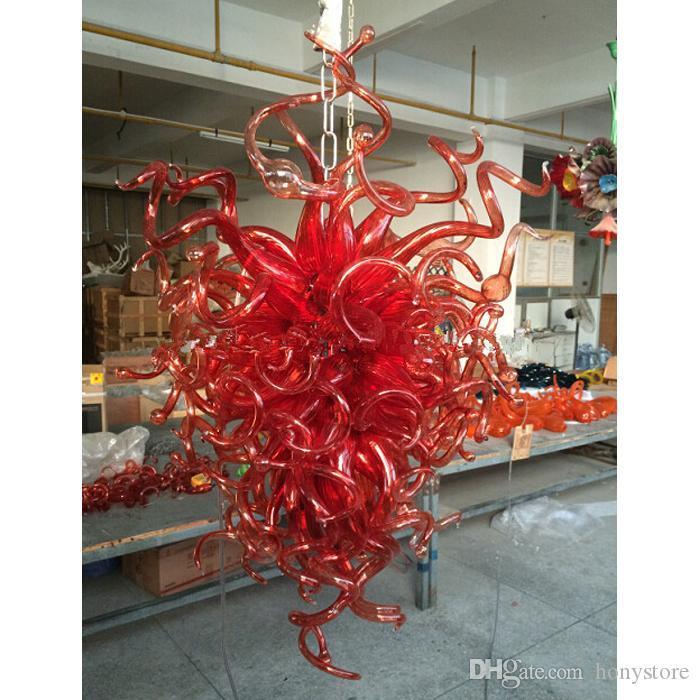 Hot Red italiano luzes de teto 120V-240V Lâmpadas LED Lâmpada Luz Art Glass Murano lustre Decoração Moderna