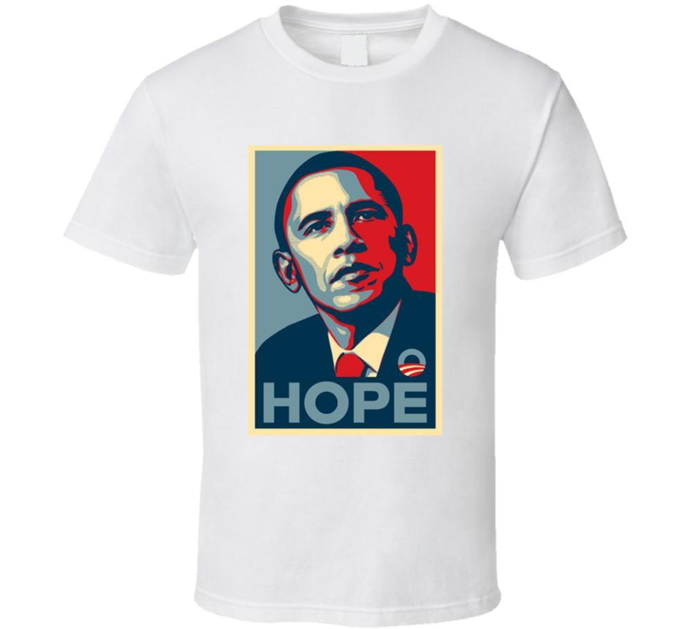 US President Barack Obama Hope White T shirt Men Cotton Short Sleeve Gift New US