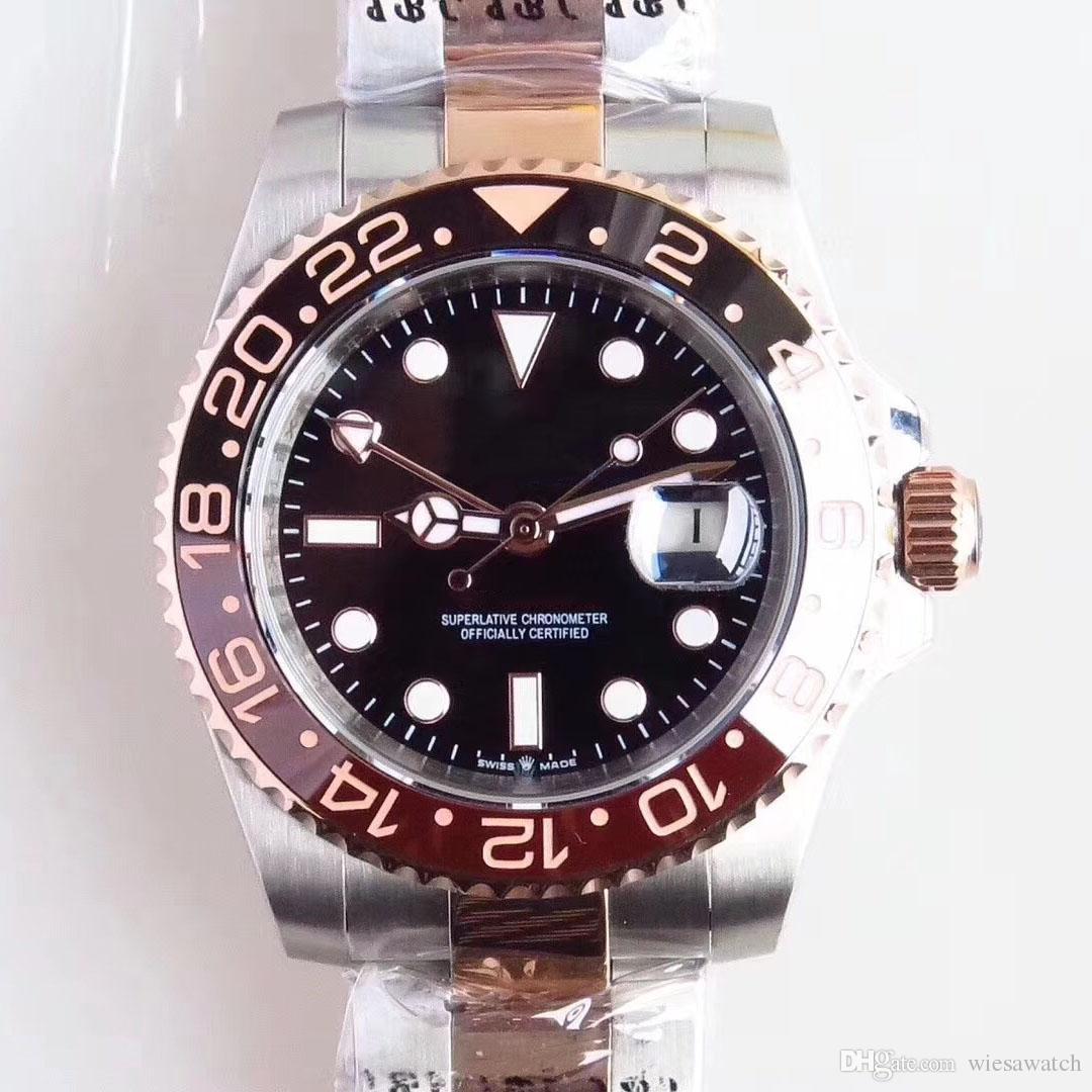야외 톱 선물 로즈 골드 시계 시계 2 톤 스테인레스 스틸 팔찌 남자 시계 블랙 인덱스 다이얼 40 MM 자동 무브먼트