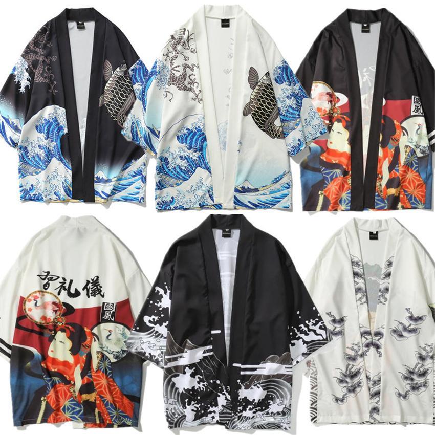 Erkekler Japon Moda Baskı Gömlek Kimono Hırka Streetwear Obi Haori Geleneksel Asya Giyim Man Açık Gömlekler için