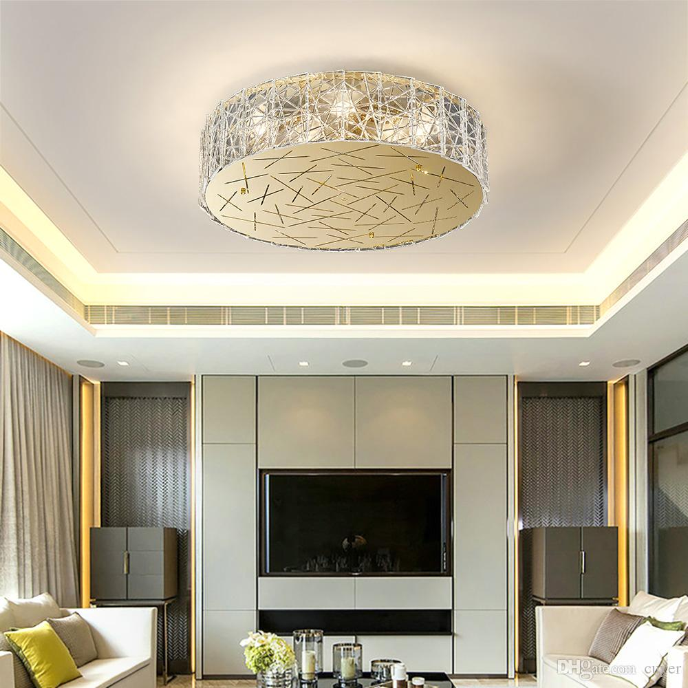 Round Ceiling Chandelier Living Room Bedroom Flush Amount Glass Chandeliers  Lighting Gold Stainless Steel Home Lamps Glass Ball Chandelier Pillar ...