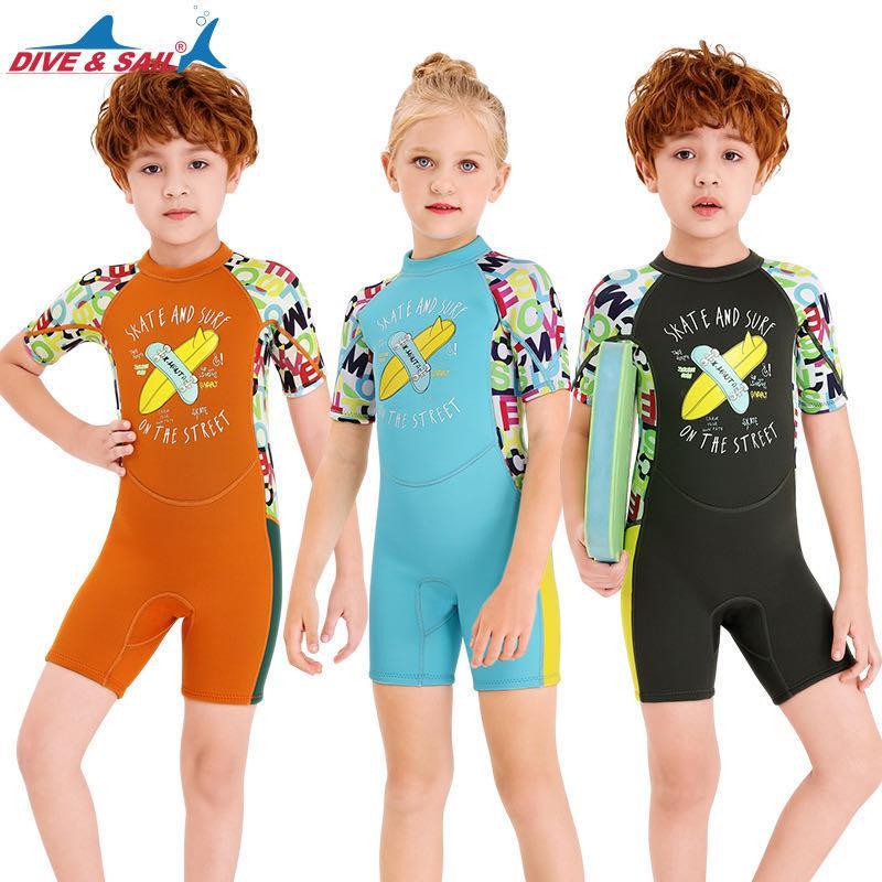 Los niños Impreso Surf medusas Trajes Traje de baño para chicos, chicas de 2,5 mm de neopreno Snorkel buceo con traje corto traje de baño de los niños