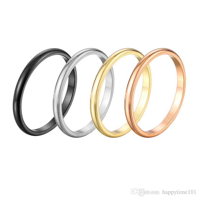 GoldSilverBlackRose Simple Gold 2mm Anel Belas cauda lisa anel de metal de liga de titânio de aço Senhora da ajustável senhora jóias anéis Tamanho 3-10
