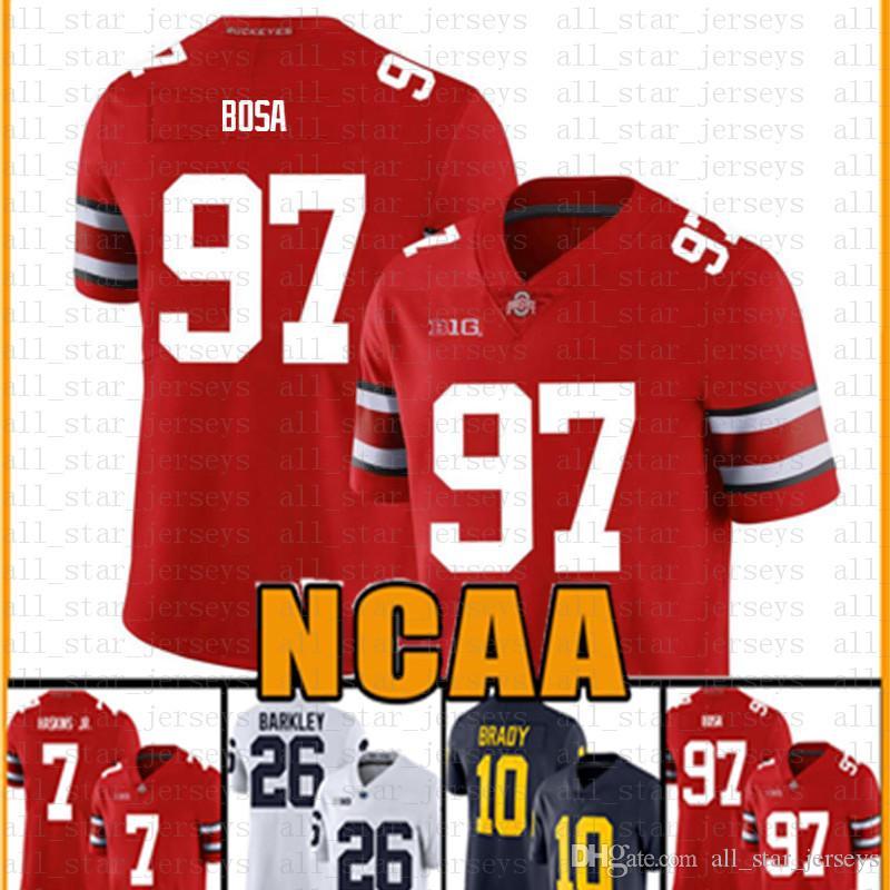 NCAA Ohio State Buckeyes 97 Nick Bosa 7 Dwayne Haskins JR American Footbal Jersey 16 Trevor Lawrence Tom Brady Saquon Barkley Drvr