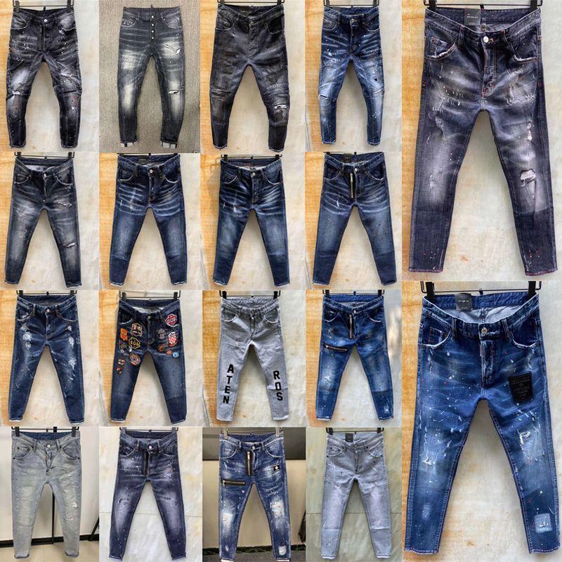 2020 ropa de lujodsquared2 hombre hombres del diseñador pantalones vaqueros rasgados d2 agujeros bordado icono de la mezclilla del dril de algodón de la cremallera de los pantalones vaqueros flacos