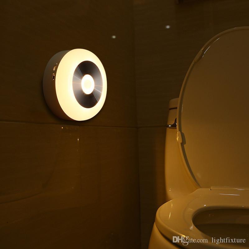 Intelligent Sensor LED Controle de indução lâmpada Energy Saving Battery Operated parede Noite luz da lâmpada para o banheiro Quarto Stair Infrared Lamp