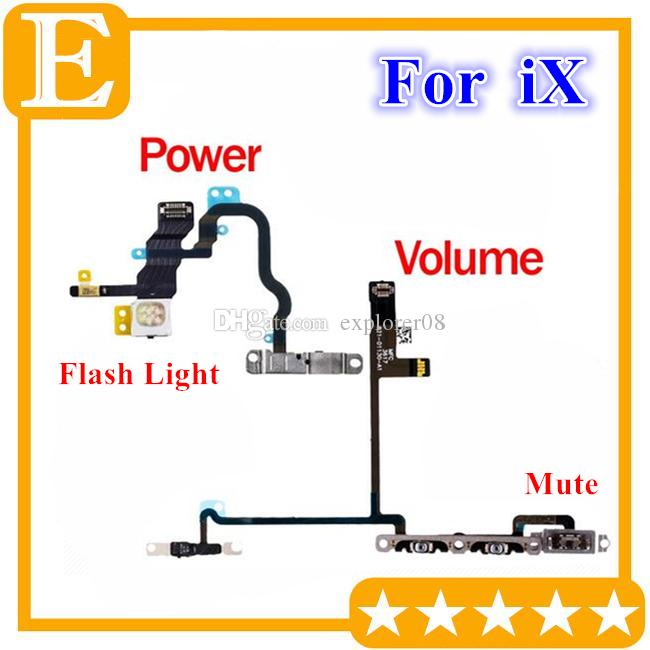 Power Volume Switch Button Flex Cable For iPhone X 10 On Off Control + Flash Light + Mic + Mute Connector Flex with Metal Bracket Assembly
