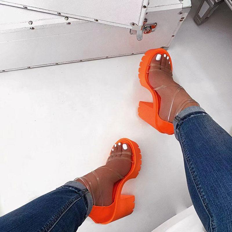 Оранжевый ПВХ Jelly Sandasls Peep Toe Толстые Высокие каблуки Женская обувь Clear Narrow Band Прозрачный сандалии рабочей площадки плюс размер 37-41