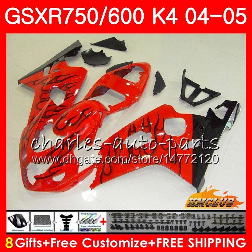 BodysForSUZUKIGSXR750GSXR600R750GSXR600200420057HC.56GSXR600GSXR-7500405GSX-R600K4GSXR7500405Black flames hot Fairings