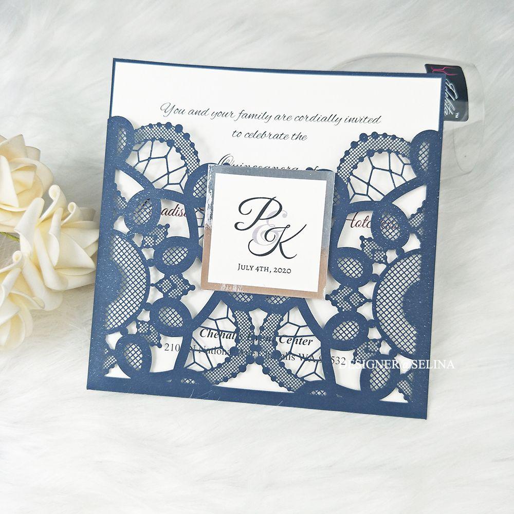 Invitaciones de la boda del corte del láser brillante azul marino con la etiqueta y el espejo de plata Fondo 20 + Color Editable Imprimir Quinceañera Invitación de la invitación Invitaciones