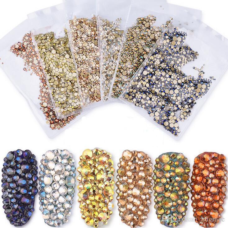 HugMee decorazione di arte chiodo piatto Drill fototerapia Arcobaleno AB strass decorativi Shiny diamante Size Mix M0021
