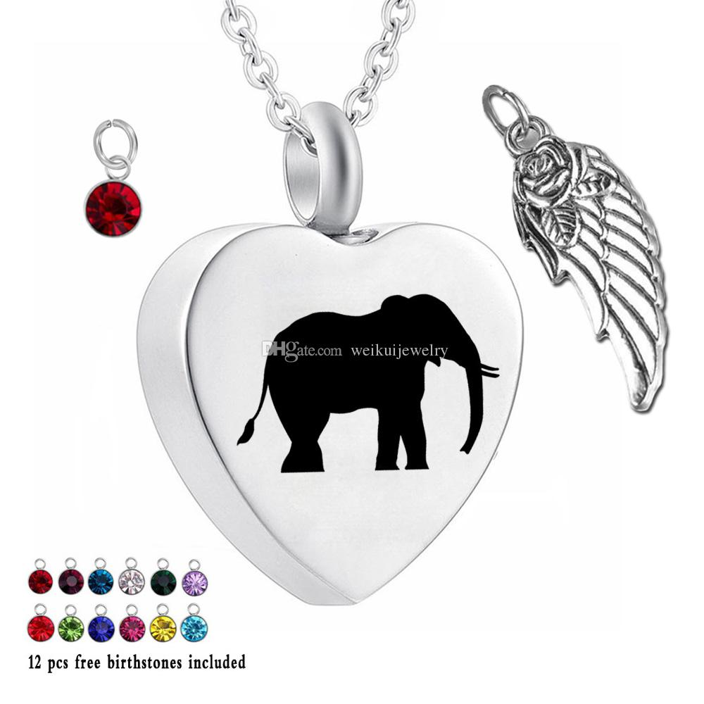 Pet Pendant 12 Piece Birthstone Crystal Urn Necklace Heart Memorial Keepsake Elephant Pendant Ash Cremation Jewelry for Ashes