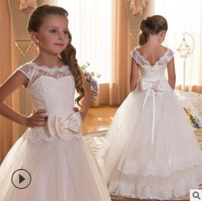 White Flower Girls Dresse For Wedding Tulle Lace Long Girl Dress Party Christmas