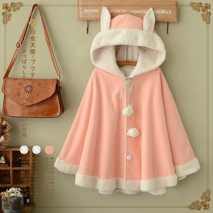 Adomoe Winter Women Pink Solid Color Cape Hood with ears Navy blue Hoodies Mori Girls Autumn Cute Harajuku Fleece Cloak