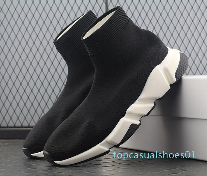 İyi Kalite Kırmızı siyah Hız Eğitmen Casual Ayakkabı Erkek Kadın Çorap Çizme Stretch-Örme Casual Bot yarışı Runner Ucuz Sneaker Yüksek Üst T01