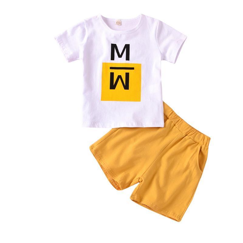 Niños bebés impresa letra de cuello redondo manga corta camiseta de las tapas de color de Soild shorts 2pcs de juego de ropa informal de verano Trajes D30
