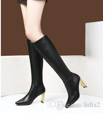 New Arrival Hot Sale Specials Super Fashion Influx Martin Roman Black Thin Legs Retro Real Leather Party Knight Heels Boots EU34-39