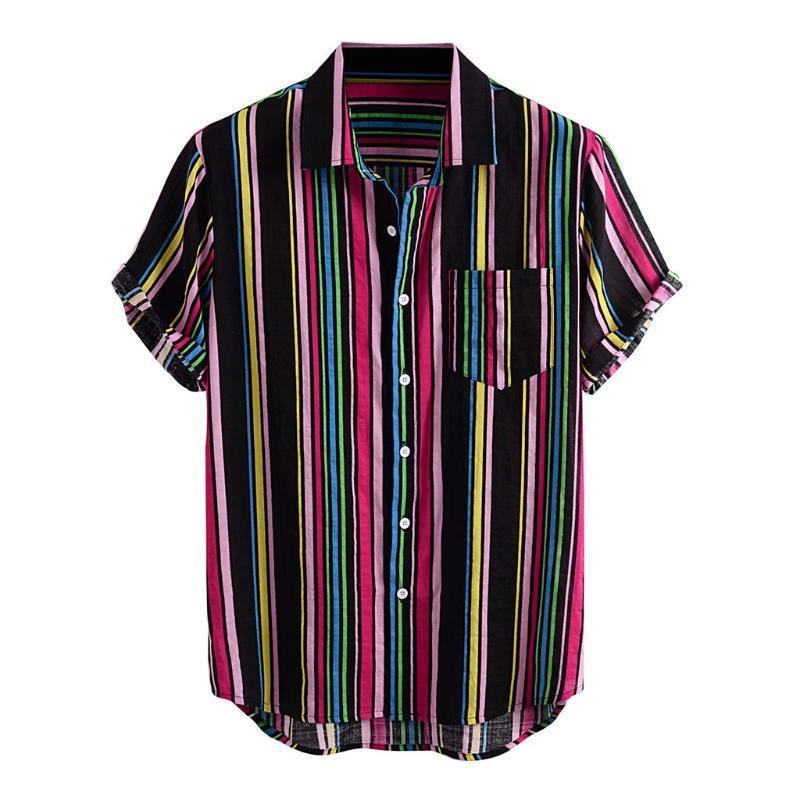 Loose rayé Chemise imprimée hommes Baissez col de poche Chemises pour hommes manches courtes Mode Casual Shirt Hommes camisa masculina
