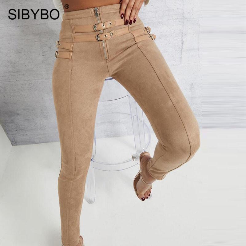 SIBYBO Süet Skinny Yüksek Bel Günlük Kadınlar Pantolon Moda Kemer Toka Kalem Pantolon Kadınlar Katı Sonbahar Seksi Pantolon 2019