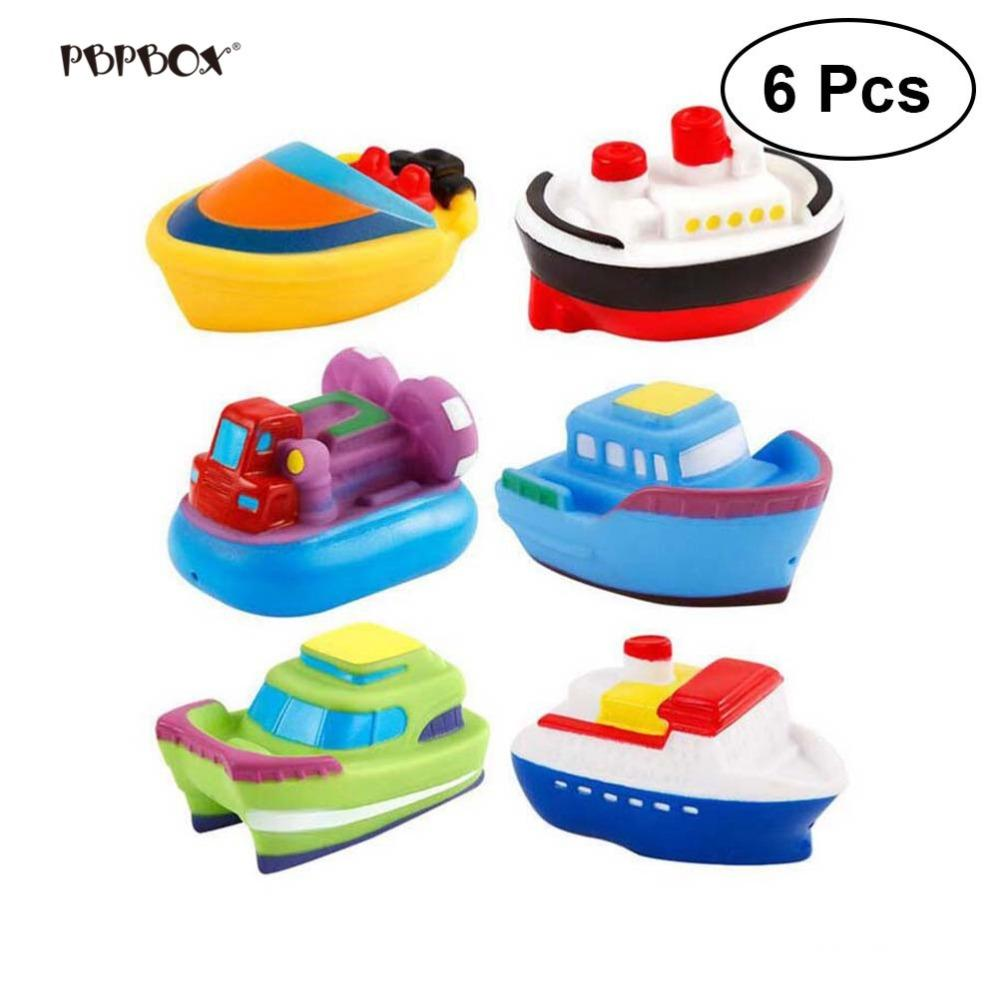 6pcs Baby Bath Toys Soft Rubber Boat Kids Water Toys Squeeze Spraying Beach Bathroom Swimming Pool Toys For Kid