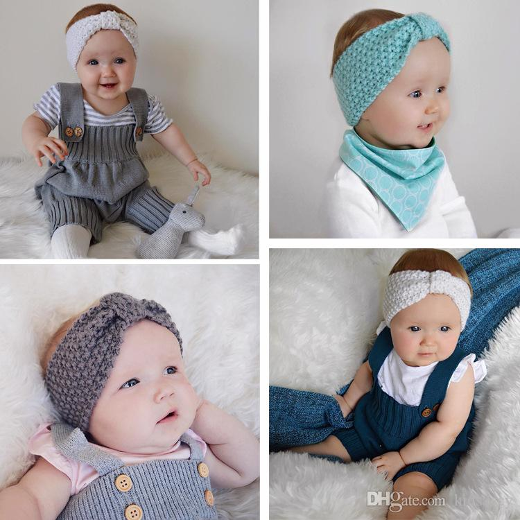 가을 겨울 귀여운 유럽 여자 아기 니트 귀마개 머리띠 여자 헤어 밴드 어린이 매듭 헤어 액세서리 Headwraps A205