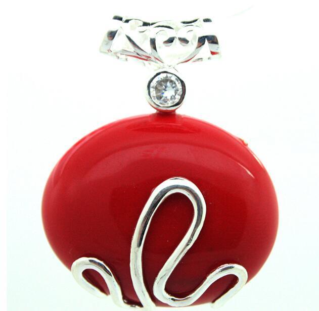 Jewelryr inci kolye zarif 925 ayar gümüş kırmızı mercan servet kolye 37x30mm ücretsiz kargo