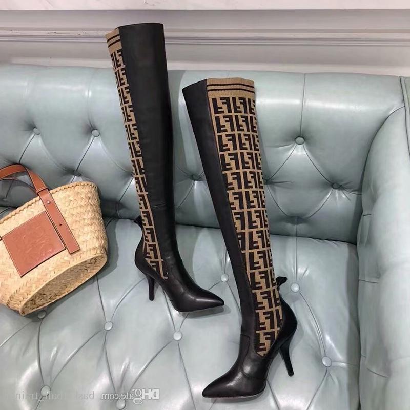 أفضل مصمم العلامة التجارية المرأة الثلاثي الأصفر جلد الركبة أحذية النسائية الفخذ العليا جورب الحذاء حذاء عرضي مع