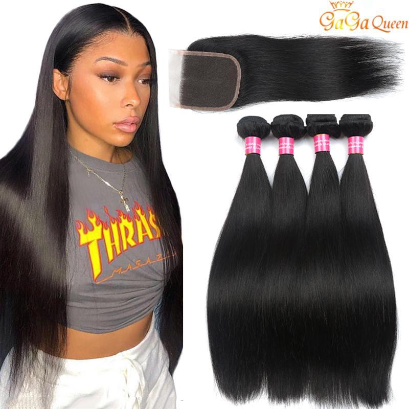 Brazilian Straight Hair Bundles With 4x4 Closure Unprocessed Brazilian Virgin Hair Straight With Lace Closure Cheap Human Hair Extensions