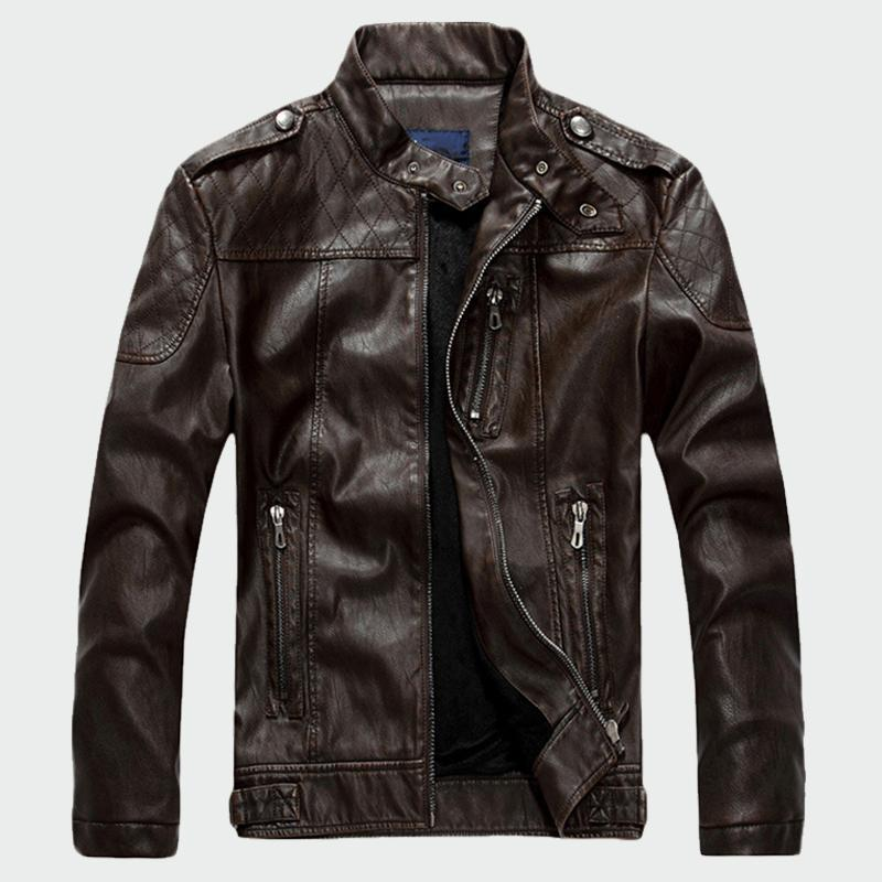 Giacche in pelle da uomo Inverno Casual PU Plus Cappotti in pelle di velluto Uomini Faux Jacket Plus Abbigliamento in velluto 2XL ML013