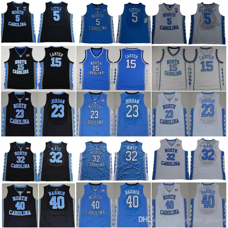 Ncaa North Carolina Tar Heels 23 Michael Nassir 5 Little 15 Carter Luke 32 Maye Barnes Vintage UNC Azul Negro Blanco Hombres College Jerseys