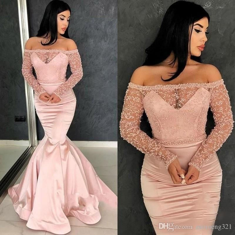 로즈 핑크 댄스 파티 이브닝 드레스 2020와 Beadings 선발 대회 가운을 통해 어깨 긴 소매를 참조 오프