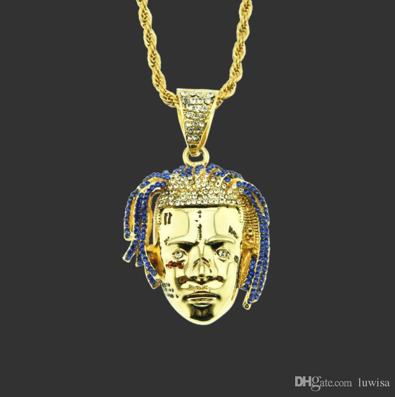 개인 랩퍼 XXXTentacion 펜던트 목걸이 남자 아이스 아웃 CZ 체인 힙합 / 펑크 골드 컬러 매력 보석 선물