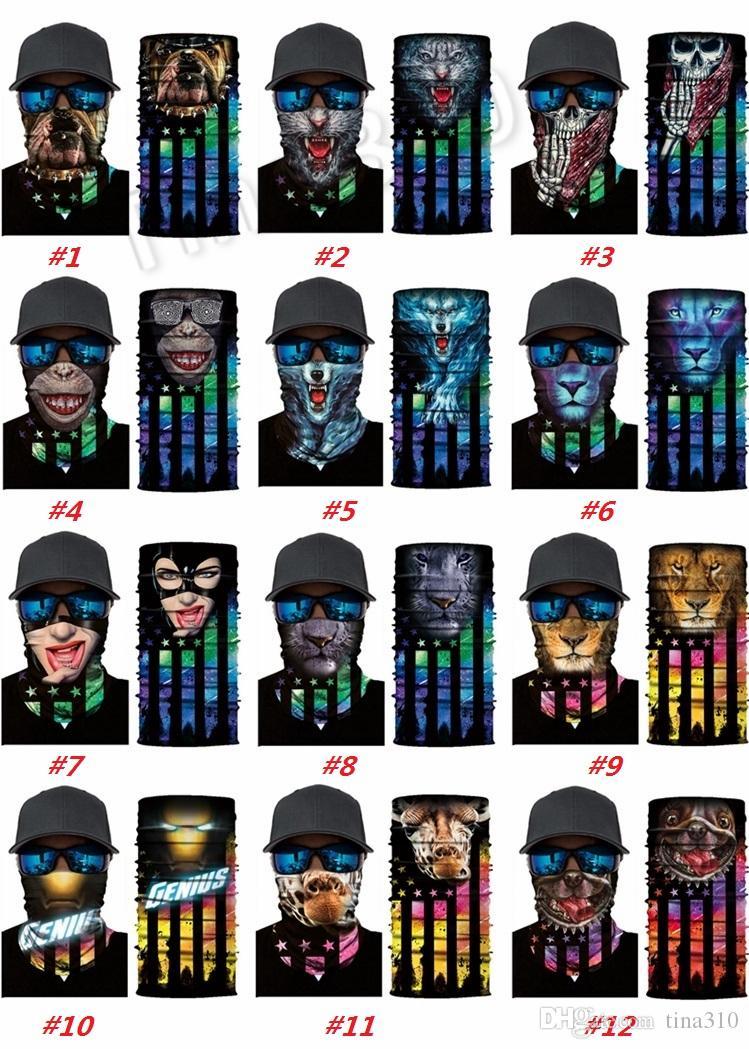 Les hommes et les femmes magique Bandeau masque facial écharpe Bandanas masques magiques numériques drapeau sans soudure, animal lion, tigre, cheval de l'I415 masque Paty