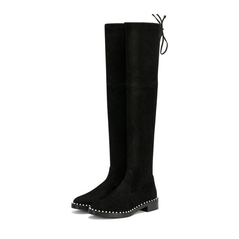 Brand Women High Silk Sheepskin Elastic Knee High Dress Boots fashion Pearl Low Heel Thigh-High Boots Winter Plush Snow Knight Boots,35-40