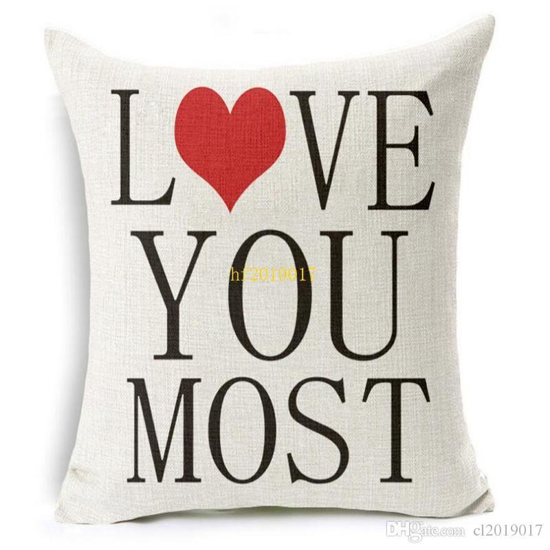 Linho fronha de algodão carta de amor escritório carro casa cama com uma jaqueta para DIY 45 * 45 cm