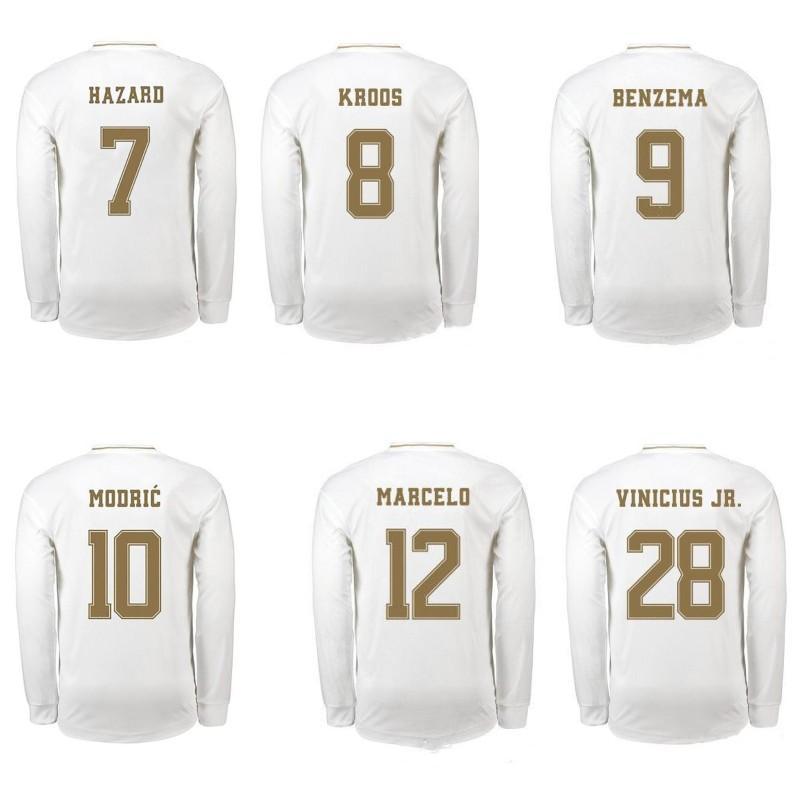 19 20 опасных Джерси дети комплекты Модрич Бензема Бэйл Кроос футбол рубашка дома униформе футбола топы с длинным рукавом рубашки Camisetas де футбол