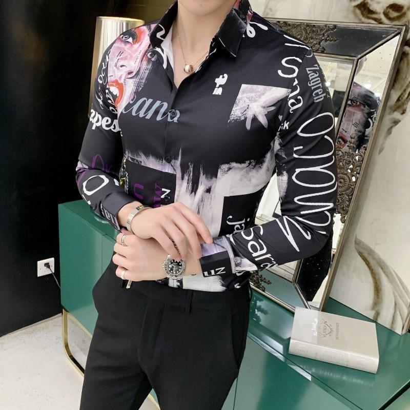 Moda Stampa Tuxedo Slim manica lunga misura del vestito camice Uomini Discoteca Chemise Homme British Style camicia degli uomini Camisa Masculina