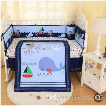 Neue Marke Baby Cuna Quilt für Jungen Krippe Bettwäschesatz Happy Ocean Krippe Stoßfänger Set 7 Stücke Baby Quilt Bumper Rock Matratze