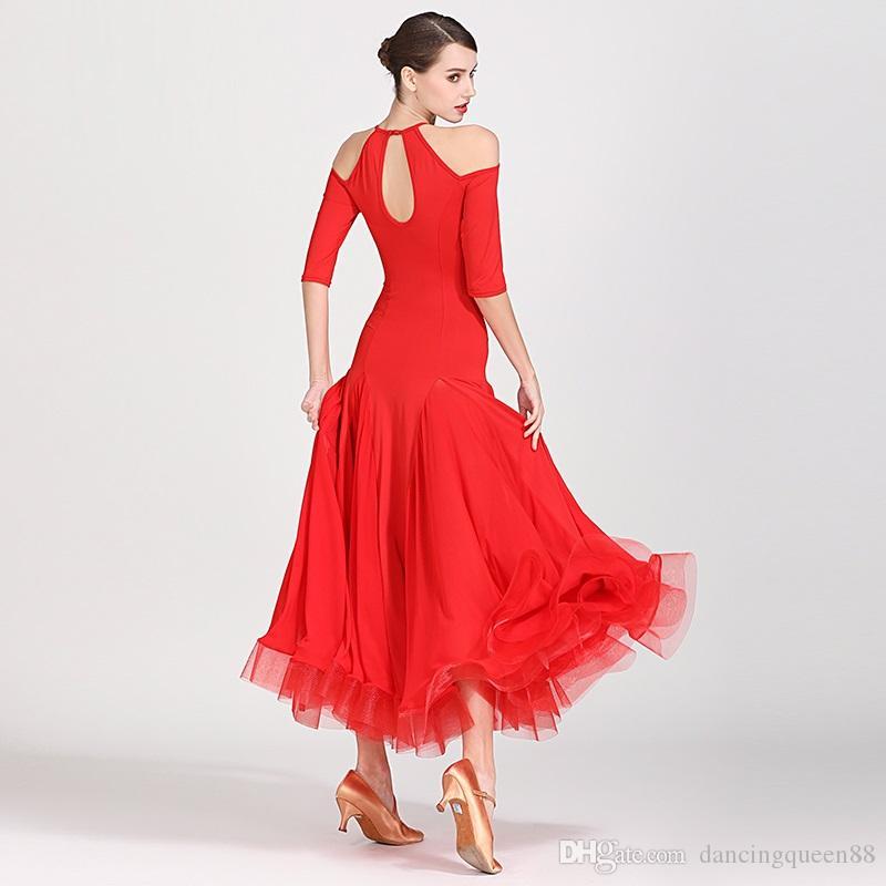 Balo elbise stanard kadın balo salonu dans elbiseler İspanyol elbise saçak balo dancewear uygulama aşınma kırmızı flamenko elbise kostüm