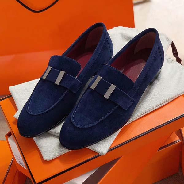 2020New pattern High Quality Dress shoes Designer Genuine soft Leather Metal buckle Classic woman Sheepskin office casual shoes cu05