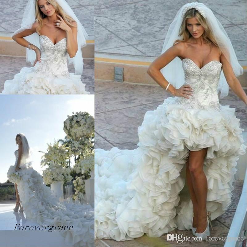 2019 Lujo Alto Bajo Vestido de novia Sweetheart Tiers Ruffles Vestido largo nupcial por encargo más tamaño