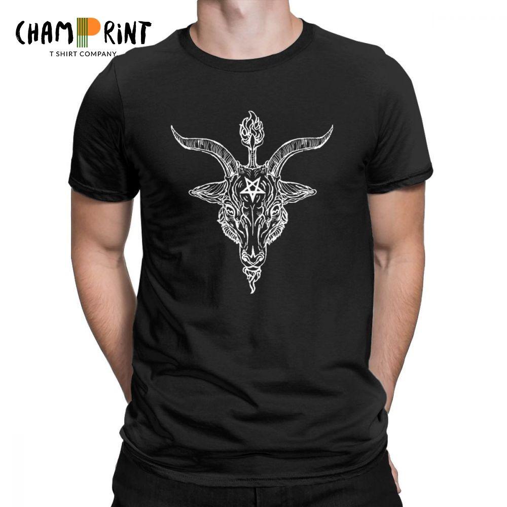Coton T-shirt humoristique pour hommes Baphomet T-shirt col rond T-shirt satanique à pentagramme Tees À Manches Courtes Chèvre Vêtements Taille Plus