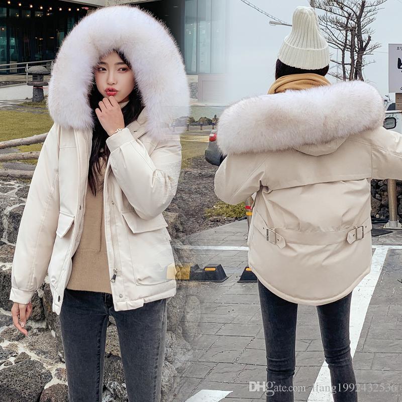 Moda yeni pamuk kadınlar kısa kısa gevşek pamuk ceket öğrenciler kış kürk yaka pamuk ceket