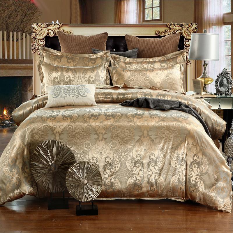 NEW جاكار بياضات الملكة الملك الحجم غطاء لحاف تعيين تقليد الحرير القطن الفراش مجموعات لون الذهب