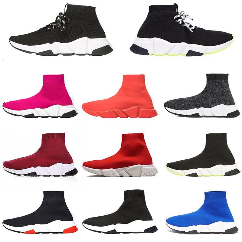 Sock off white  Top-Qualität Speed Trainer Luxuxentwerfer Sneakers Socken Schuhe Laufschuhe Schwarz Weiß Grün-Spitze Männer Frauen AUS 36-45