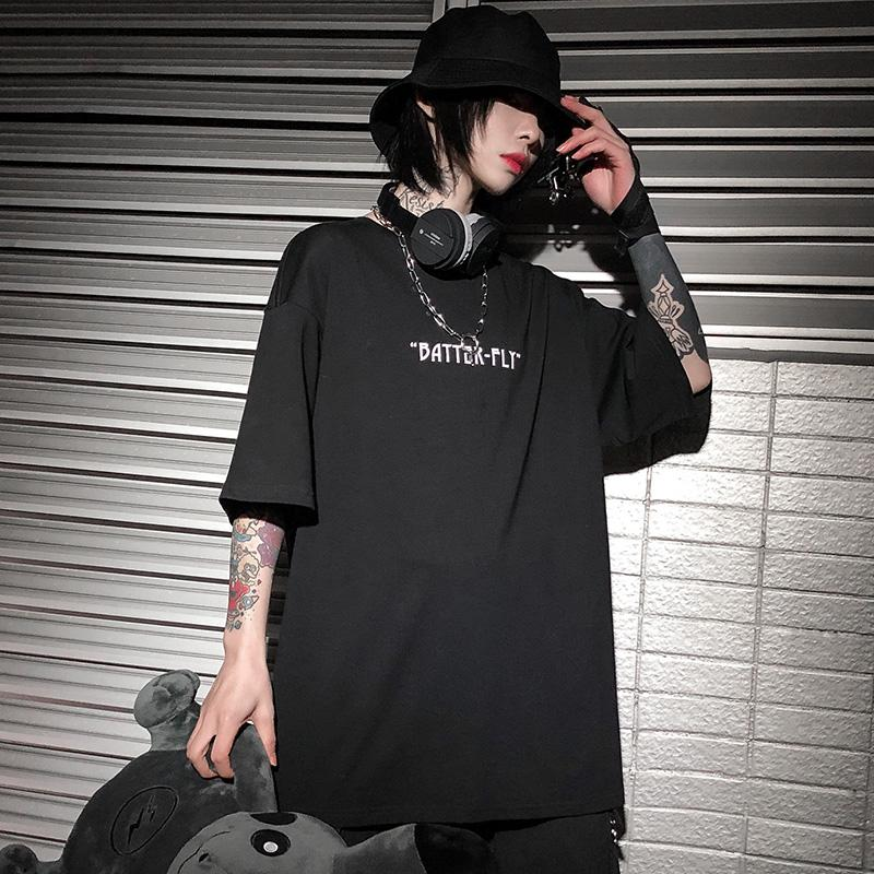 قميص Hip Hop Oversize ماركة Septhydrogen Brok Hop Men 2020 Streetwear Harajuku Color Butterfly Tshirt Short Cotton Loose HipHop T-Shirt Plu