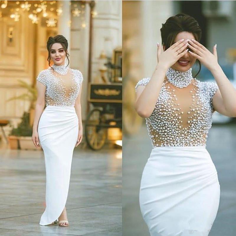 2020 Abendkleider Nude Dubai wulstige Abschlussball-Kleid-Weiß hohe Ansatz Illusion See Through-Kappen-Hülsen-formale Gala Plus Size-Partei-Kleid