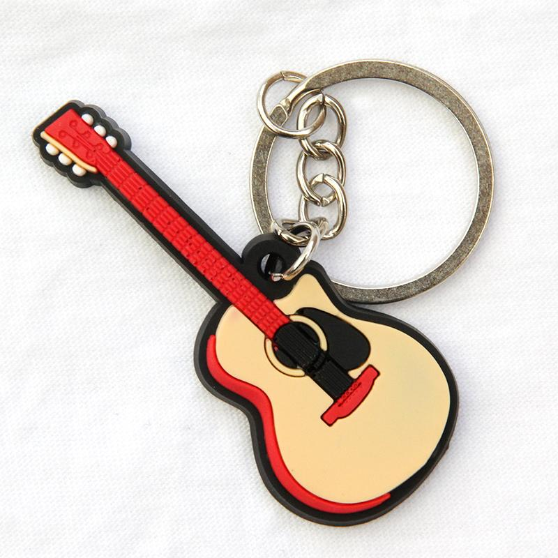FREE SHIPPING BY DHL 100pcs/lot New Rubber Silicone Mini Guitar Keychains Music Keyrings for Gifts