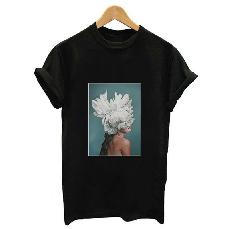 2019 Yeni Yaz Tumblr Tops Moda Streetwear Kadınlar Siyah Tshirt Estetik Çiçekler Tüy Baskı Harajuku Beyaz Rahat T-Shirt
